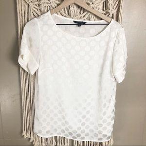 Banana republic white circle short sleeve blouse S
